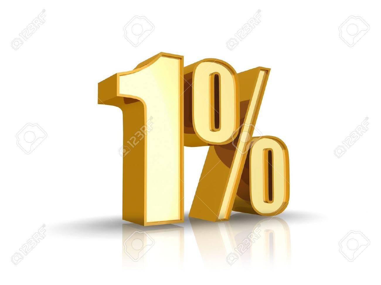 Gold one percent, isolated on white background. 0% Stock Photo - 8522473