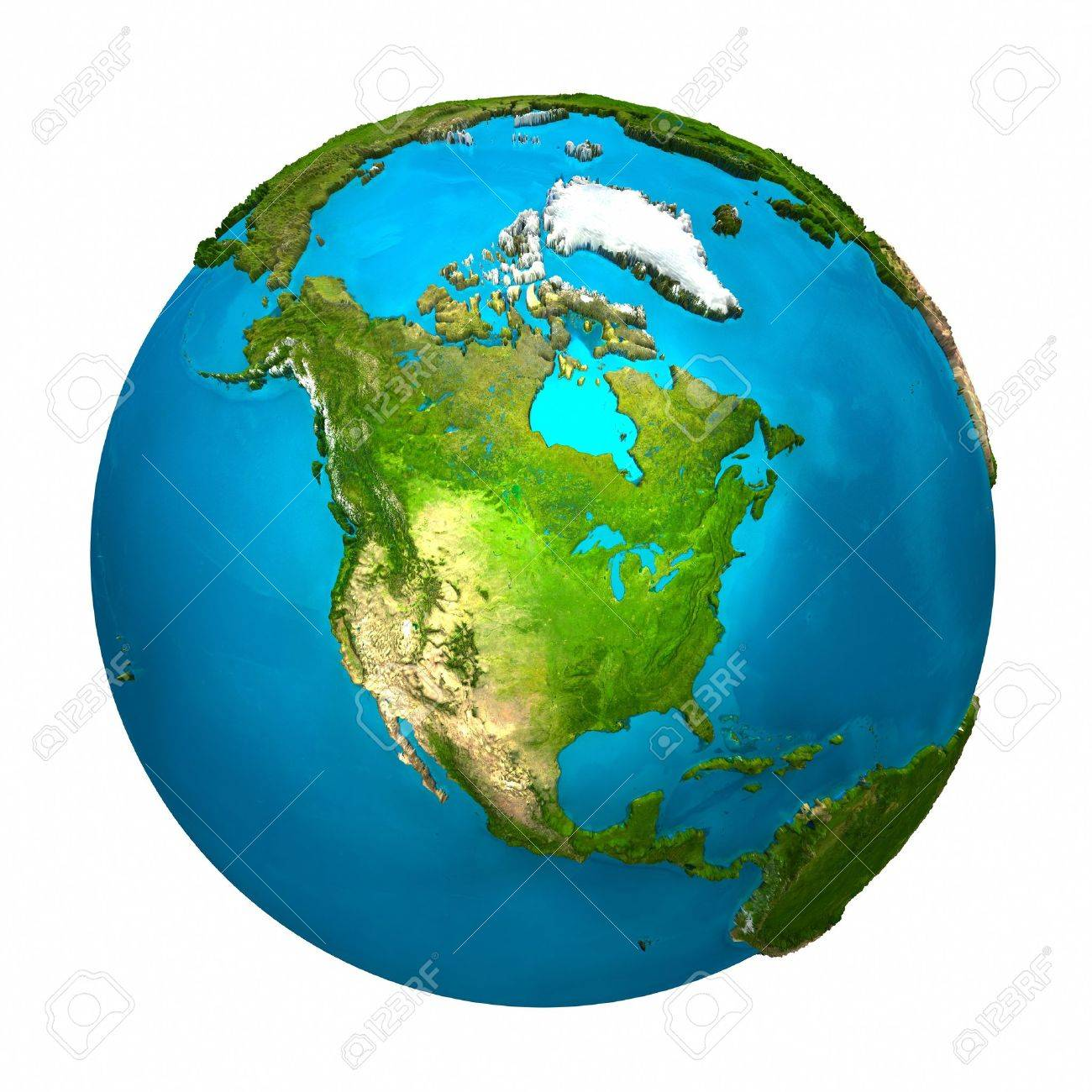 Planet Earth - North America - colorful globe with detailed and realistic surface, 3d render Stock Photo - 8552970