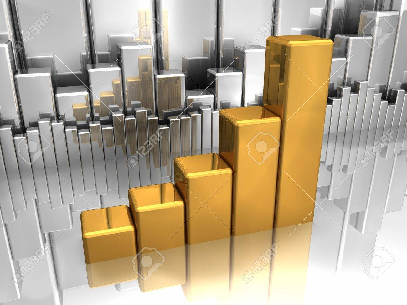 Gold chart in foreground and silver charts in background Stock Photo - 8552938