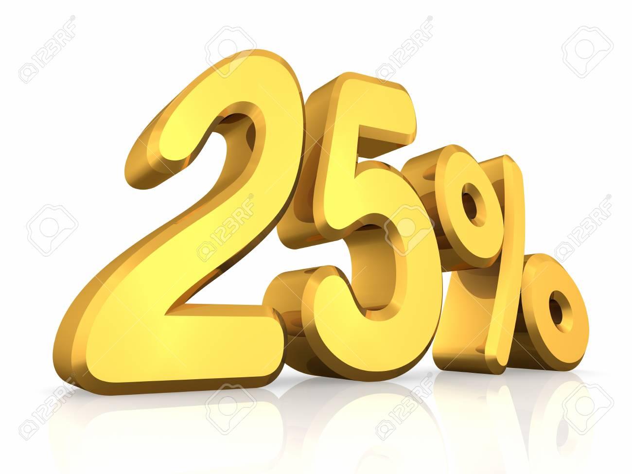 Gold twenty five percent, isolated on white background. 25% Stock Photo - 8552905