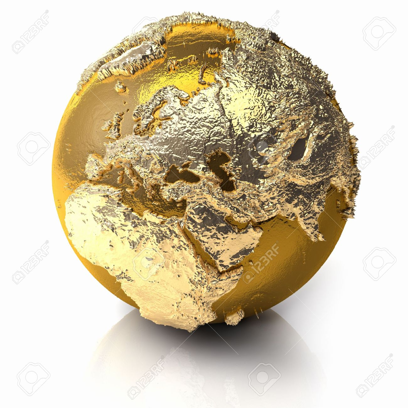 Gold globe with realistic topography and light reflections, metal earth - europe, 3d render Stock Photo - 10056902