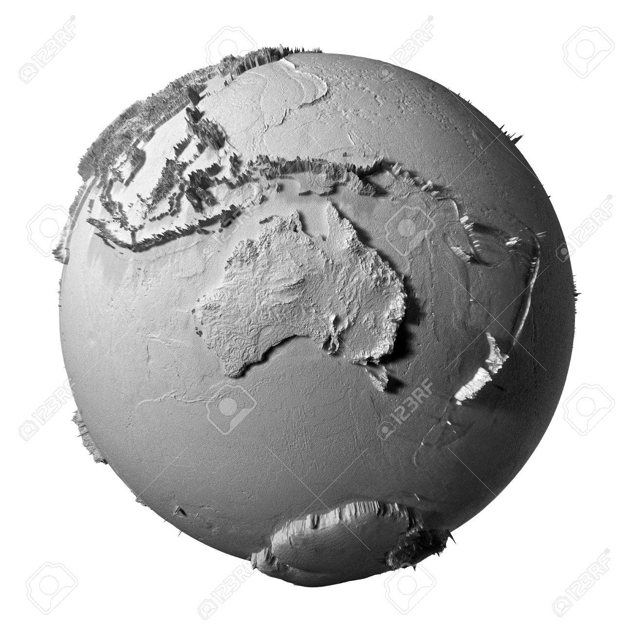 Realistic Model Of Planet Earth Isolated On White Background ...
