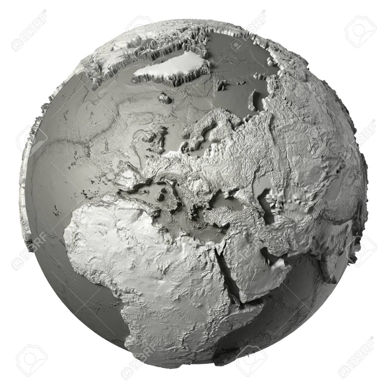 Globe model with detailed topography without water europe 3d globe model with detailed topography without water europe 3d rendering isolated on white background publicscrutiny Choice Image
