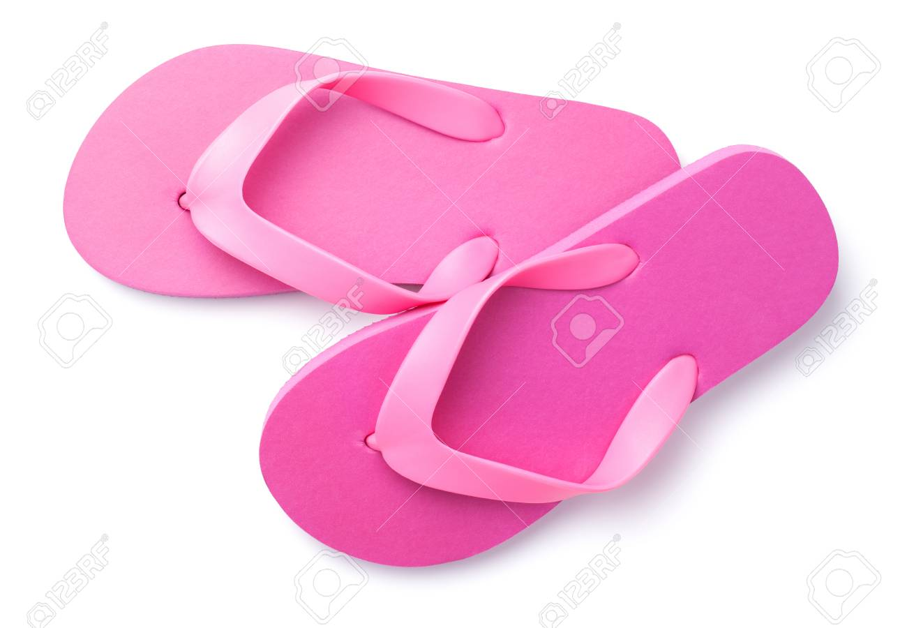 e02121cf36e3 Summer Flip Flops Isolated On White Background. Top View Stock Photo ...