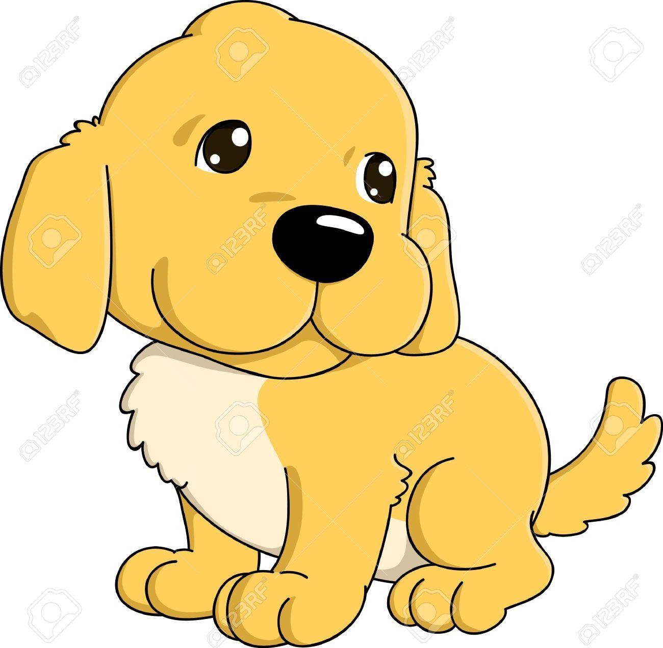 Cute Cartoon Of Golden Retriever Puppy Royalty Free Cliparts