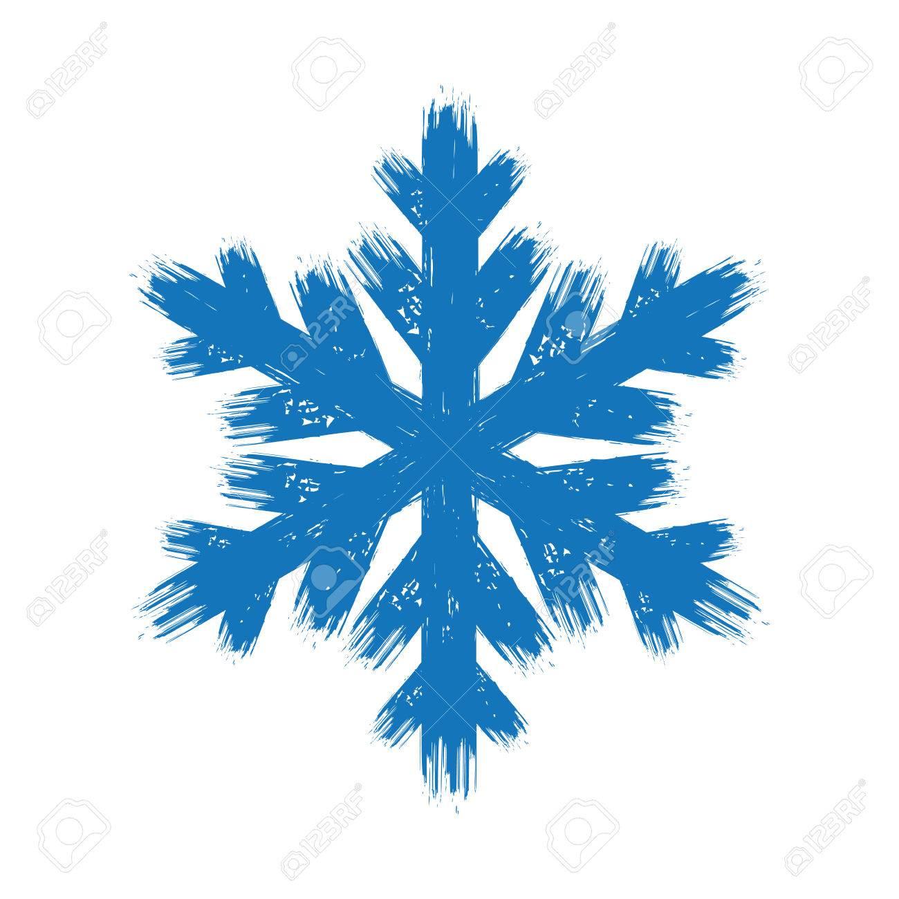 Hiver Dessin Grunge Bleu Brosse Coup Isole Flocon De Neige Clip Art Libres De Droits Vecteurs Et Illustration Image 65826891