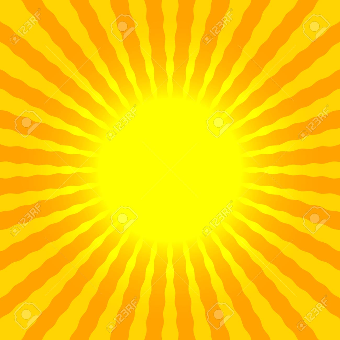 Abstract Sun Rays Wavy Yellow And Orange Background Template ...