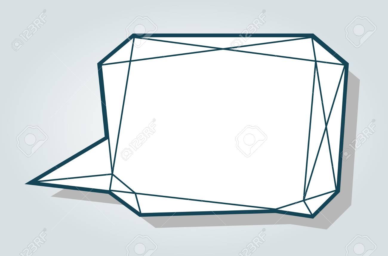 low polygon vector blue speech talk balloon diamond shape template