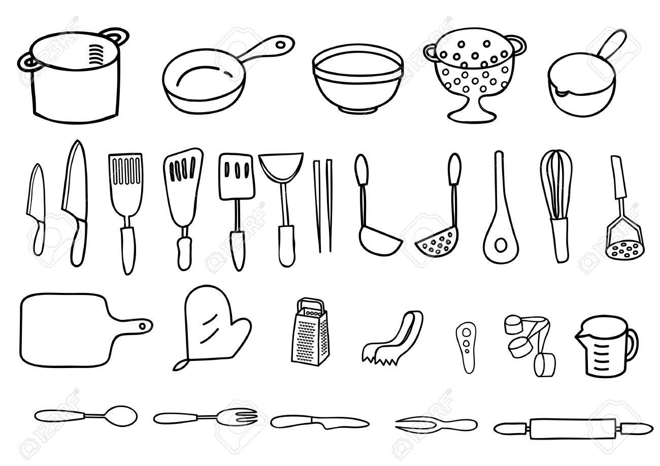Cookware of pen style of painting - 36572832