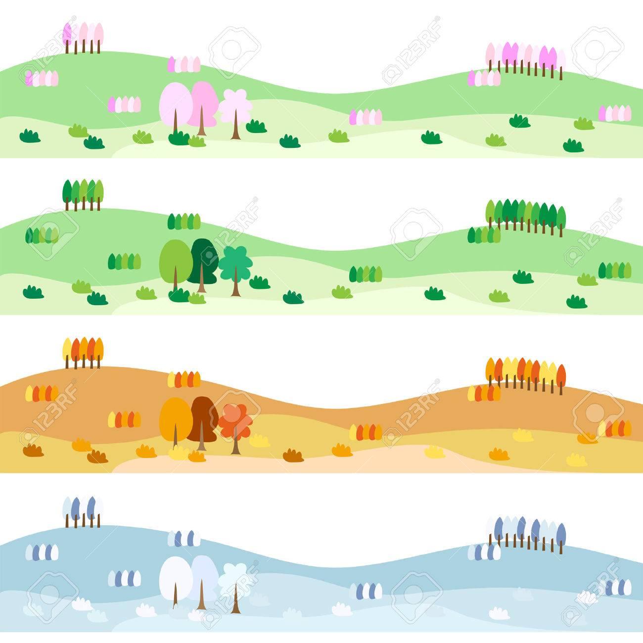 Four seasons of landscape illustrations - 40234730