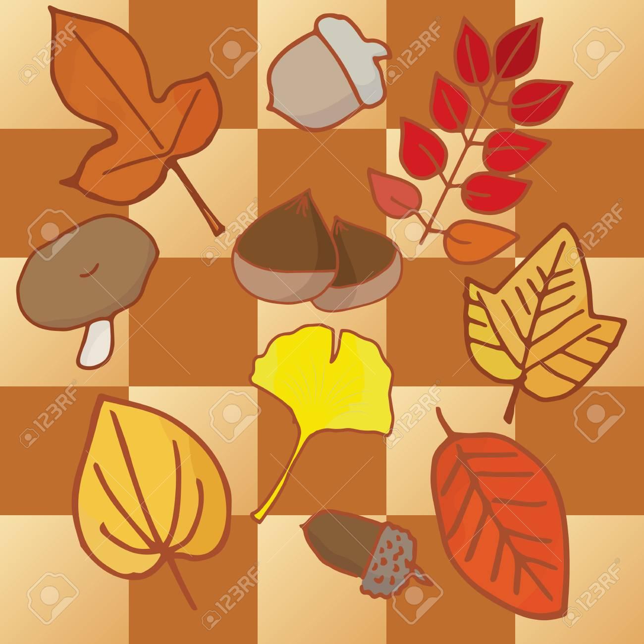 秋の実りと紅葉の葉のイラスト素材ベクタ Image 60909199