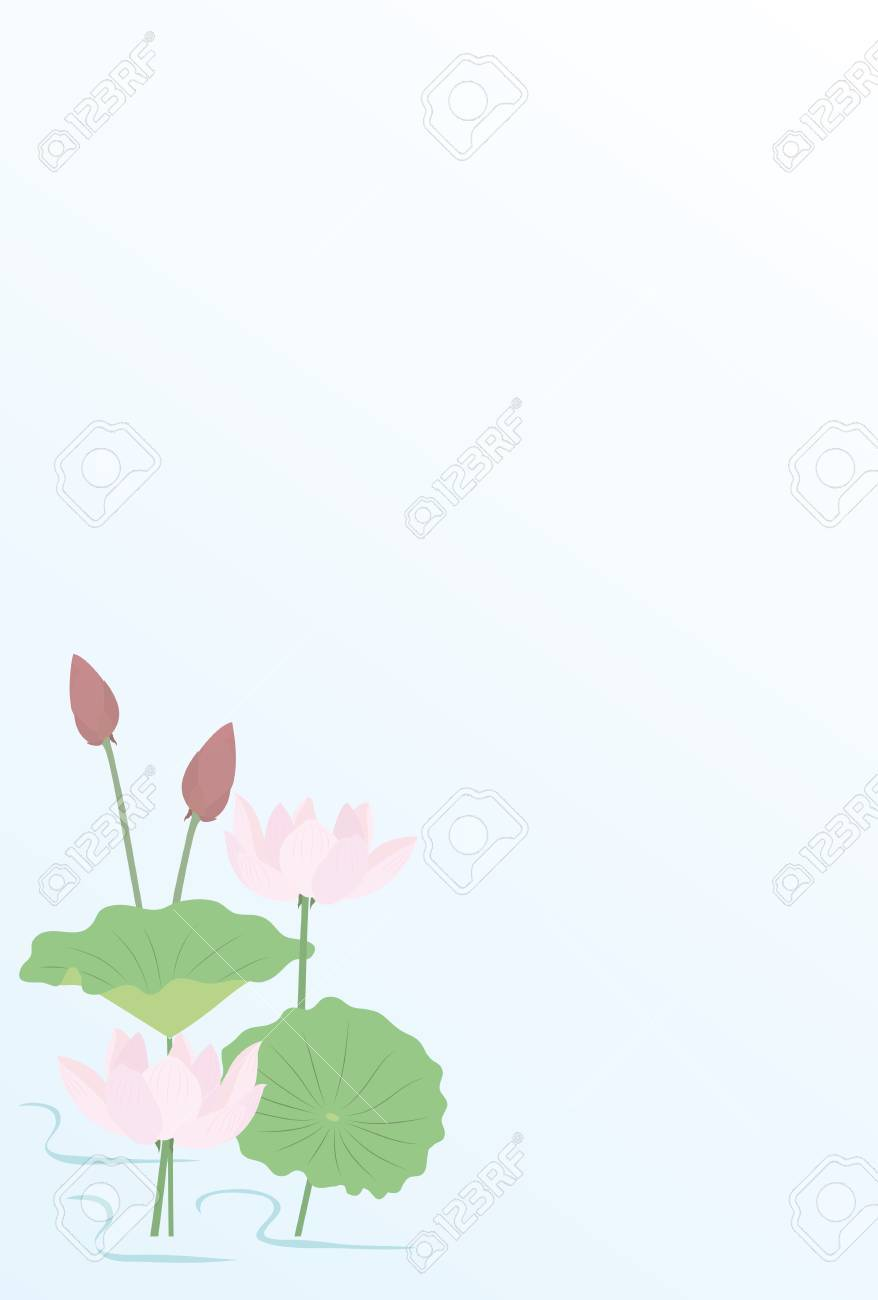 Realistic Drawing Of Lotus Plant With Flower Bloom Design For