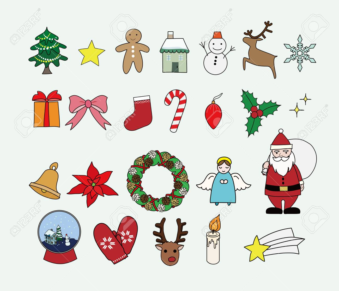 Christmas Illustration.Christmas Illustration Set Vector Illustration