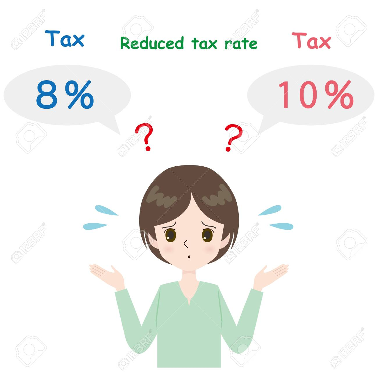 Illustration of a woman bewildered by reduced tax rate. - 129770169