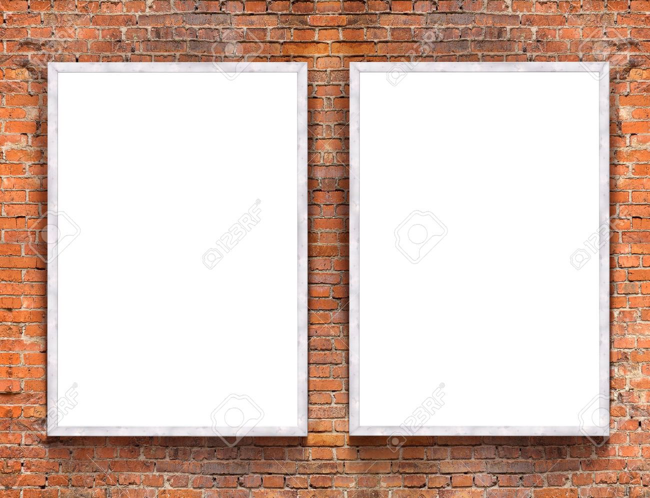 Two Blank Banners With Wooden Frame On Brick Wall Background Stock ...