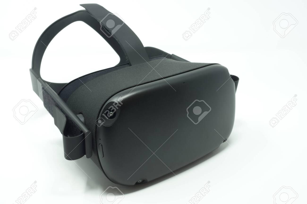 Black virtual reality headset isolated on a white background. - 131319496