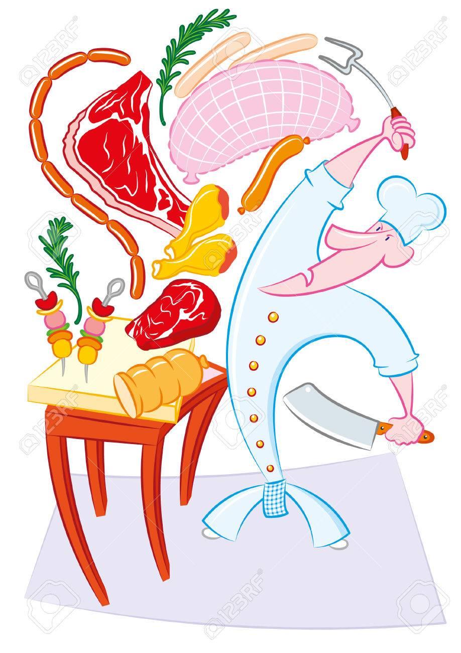 cuoco pazzo con carni Archivio Fotografico - 28504827
