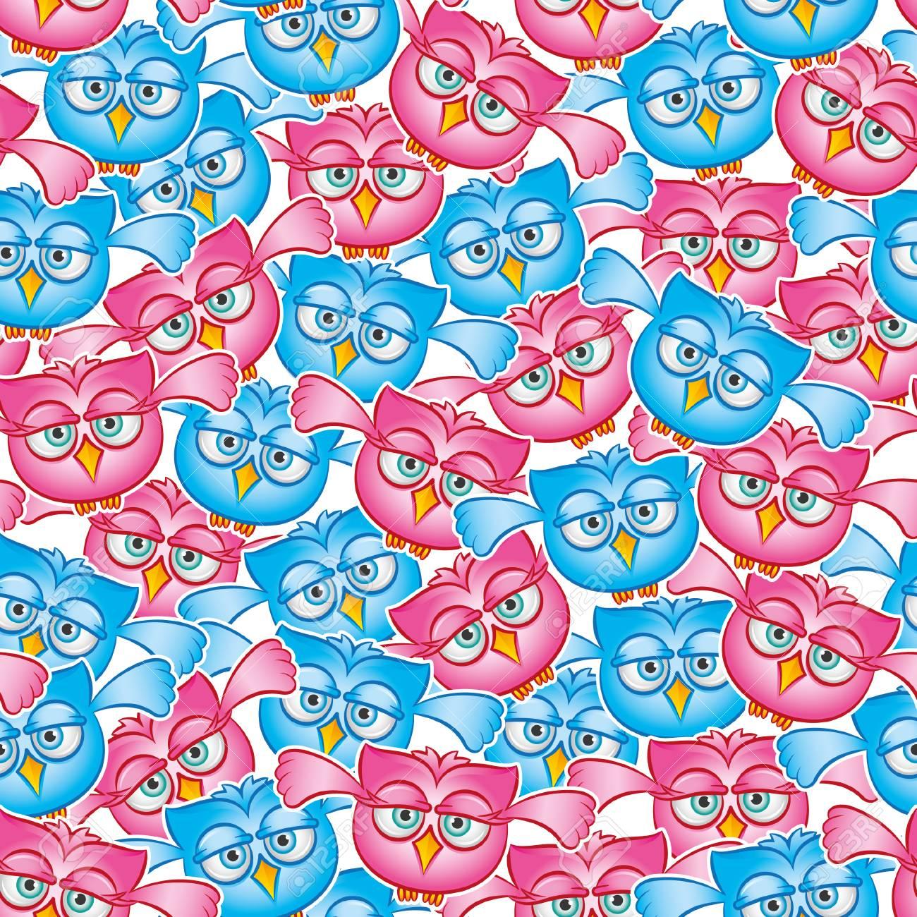Owls fly seamless pattern Archivio Fotografico - 29144277