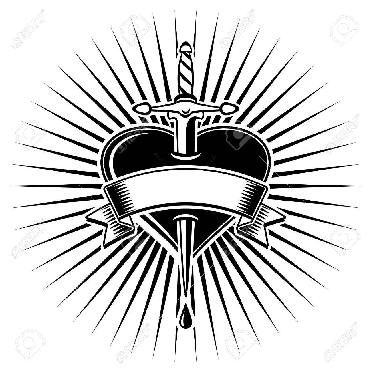 Pugnale il cuore e le rose in stile tatoo Archivio Fotografico - 29435125