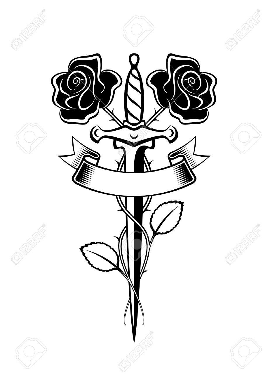 Pugnale e le rose in stile tatuaggio Archivio Fotografico - 29435126