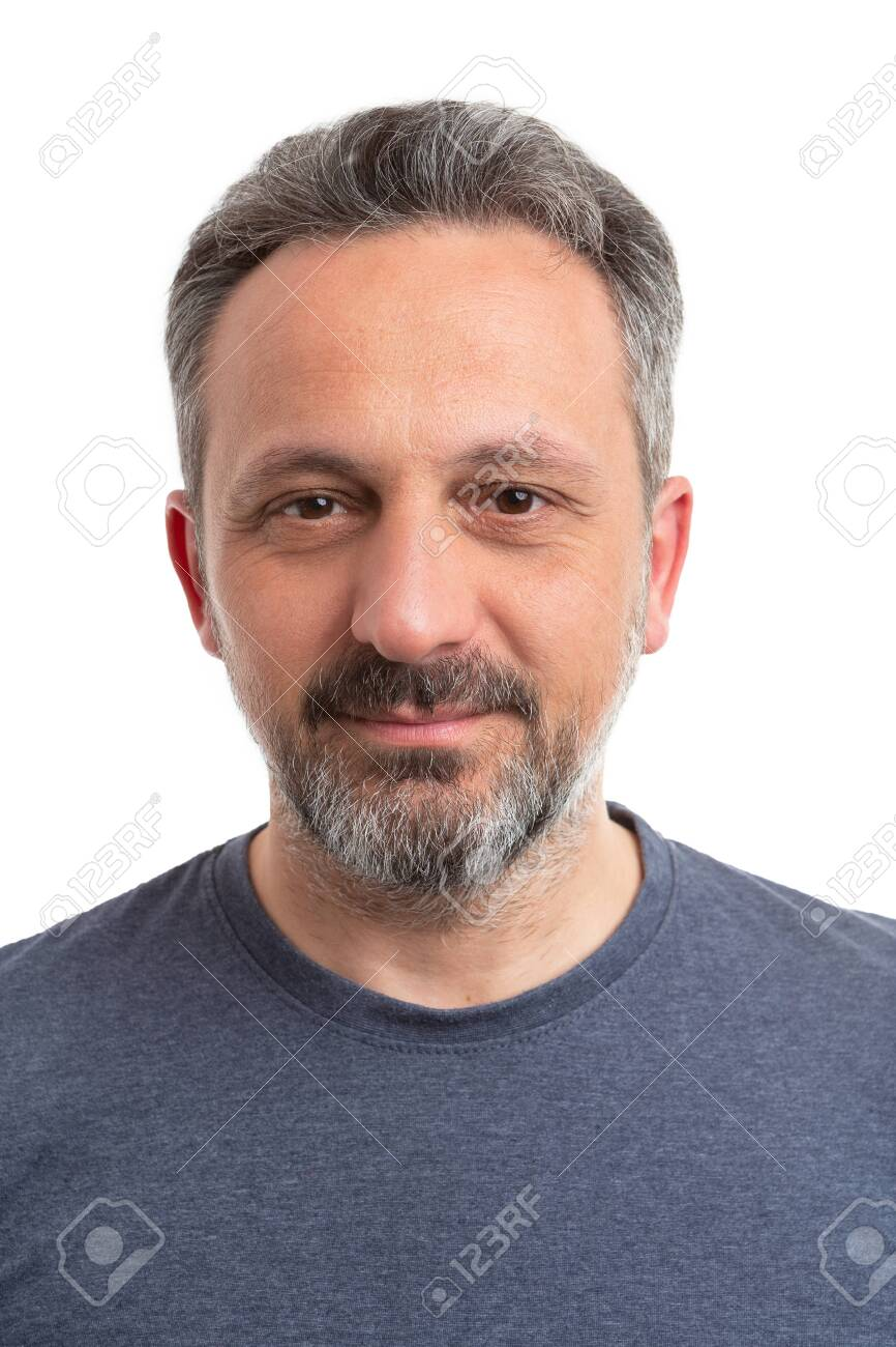 Portrait of man wearing grey tshirt as casual concept closeup isolated on white background - 123451661