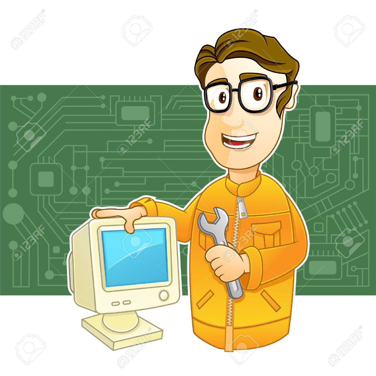 illustration of a Technician holding wrench and PC monitor Stock Vector - 18631002