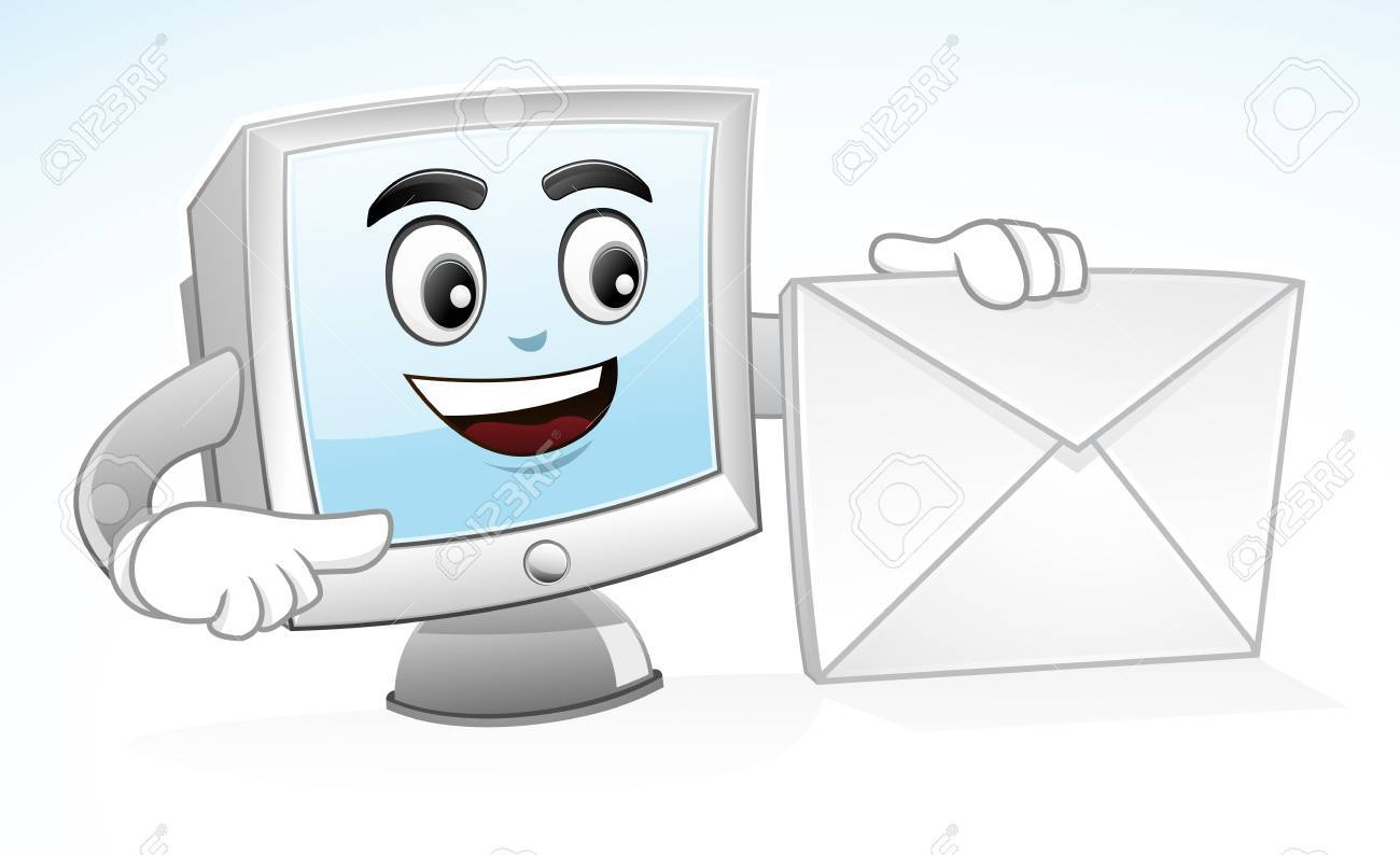 illustration of a Computer mascot is holding an envelope to show his address Stock Vector - 19505556