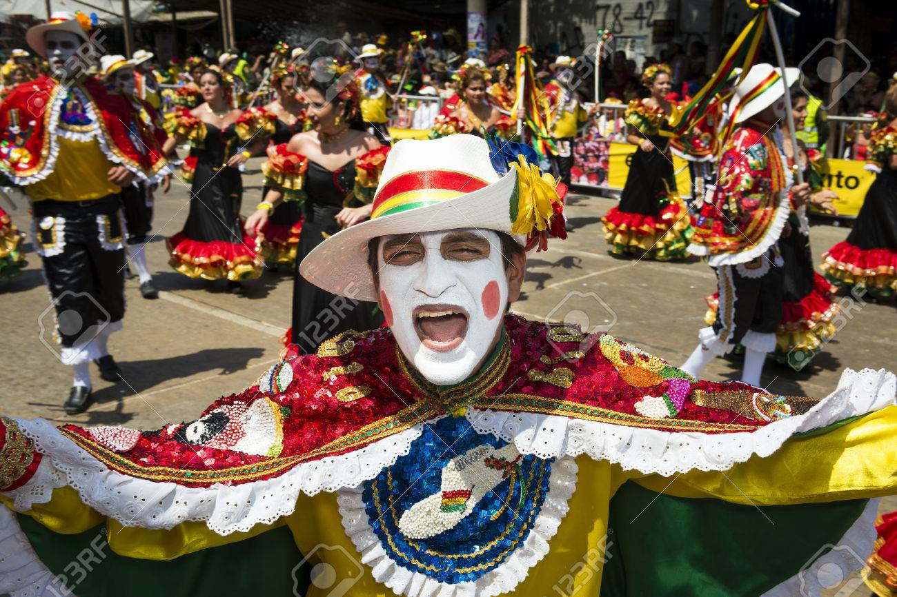 Barranquilla, Colombia - March 1, 2014: People at the carnival parades in the Carnival of Barranquilla, in Colombia. - 50624555