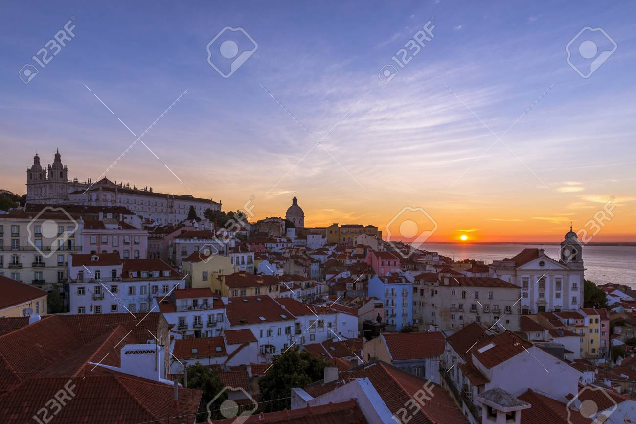 View of the Alfama neighborhood from the Portas do Sol viewpoint..