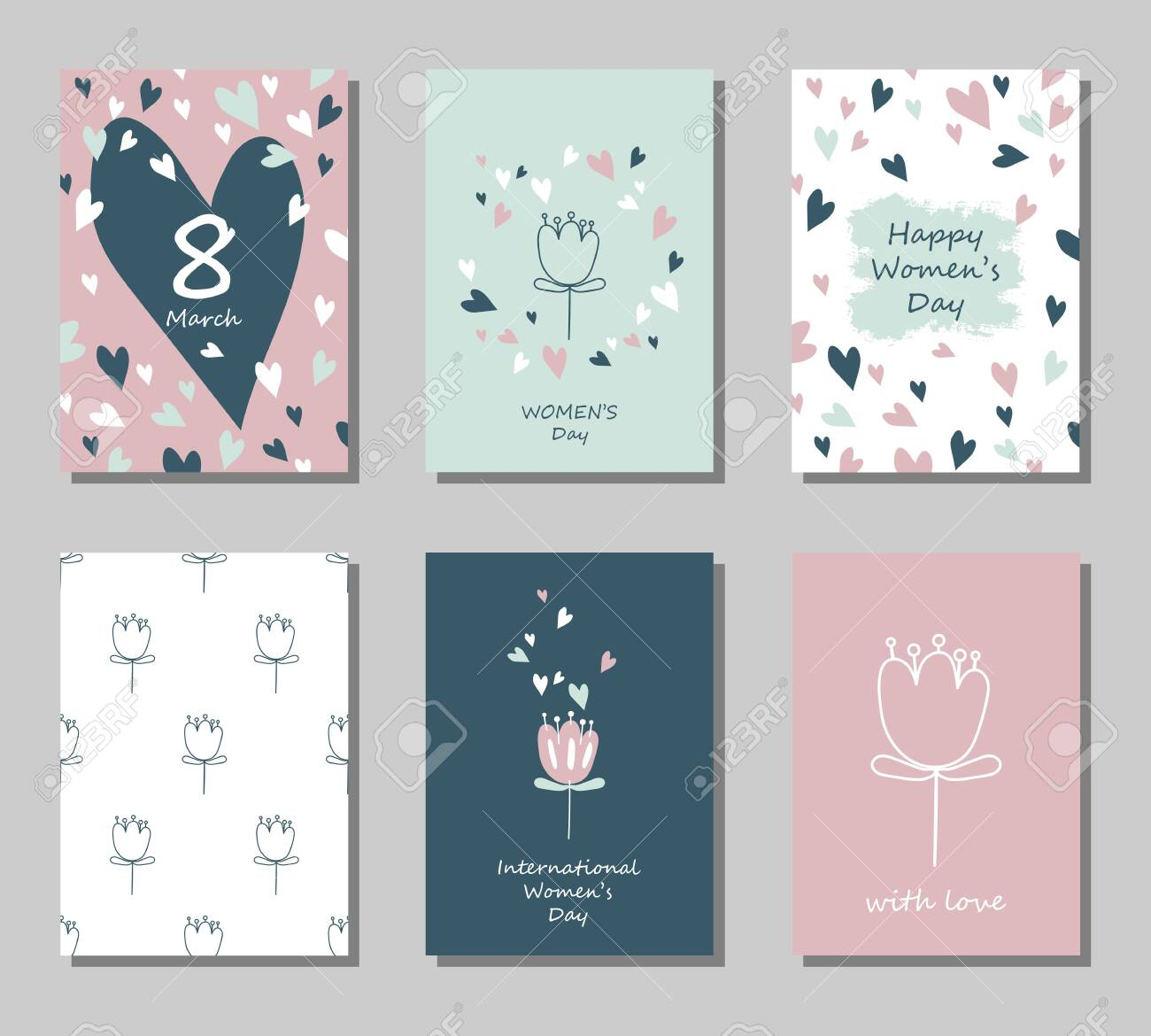 Set of greeting cards on March 8 in pastel colors. International Women's Day. Vector illustration. - 148574731