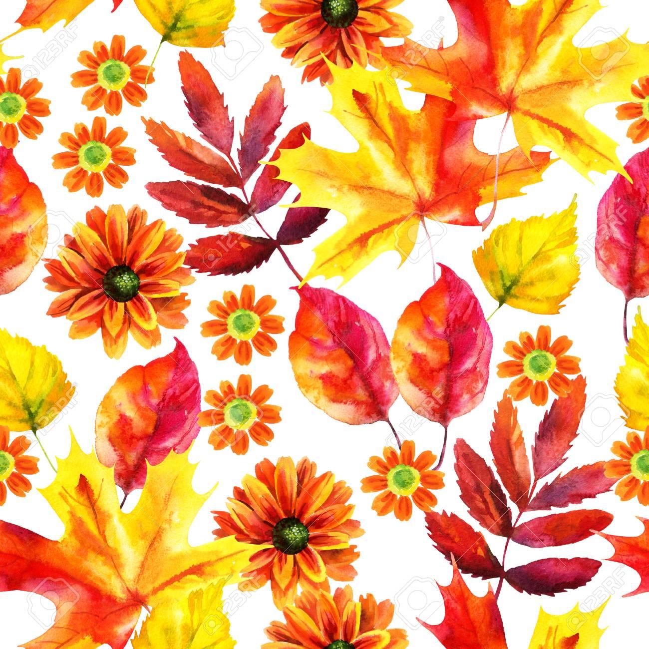秋の紅葉と白い背景の花秋水彩画シームレス パターン。手描きの秋