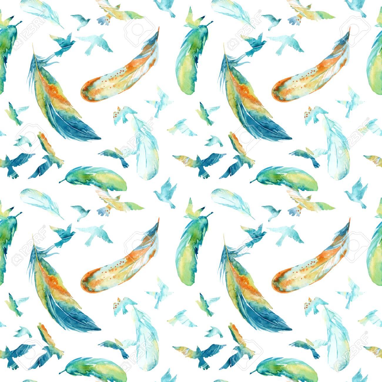 鳥と羽の飛行の水彩のシルエット鳥のシームレスなパターン手描きの