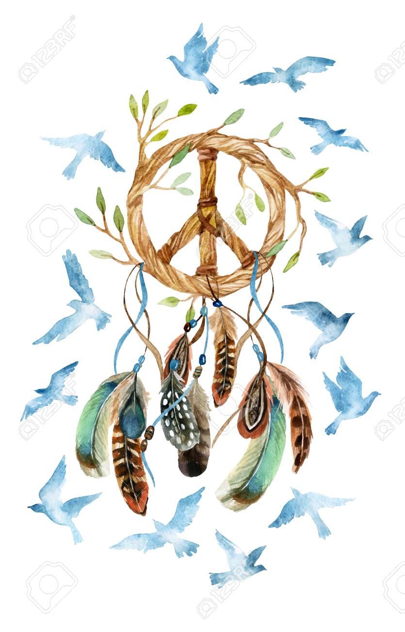 4c9abdfcbd5d0 Atrapasueños étnicos Acuarela En Forma De Signo De La Paz. Signo De La Paz
