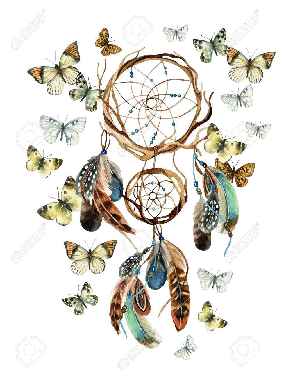 dfe04a7a80c1e Atrapasueños con plumas y mariposas. Acuarela atrapasueños étnicos.  Ilustración pintada a mano para su