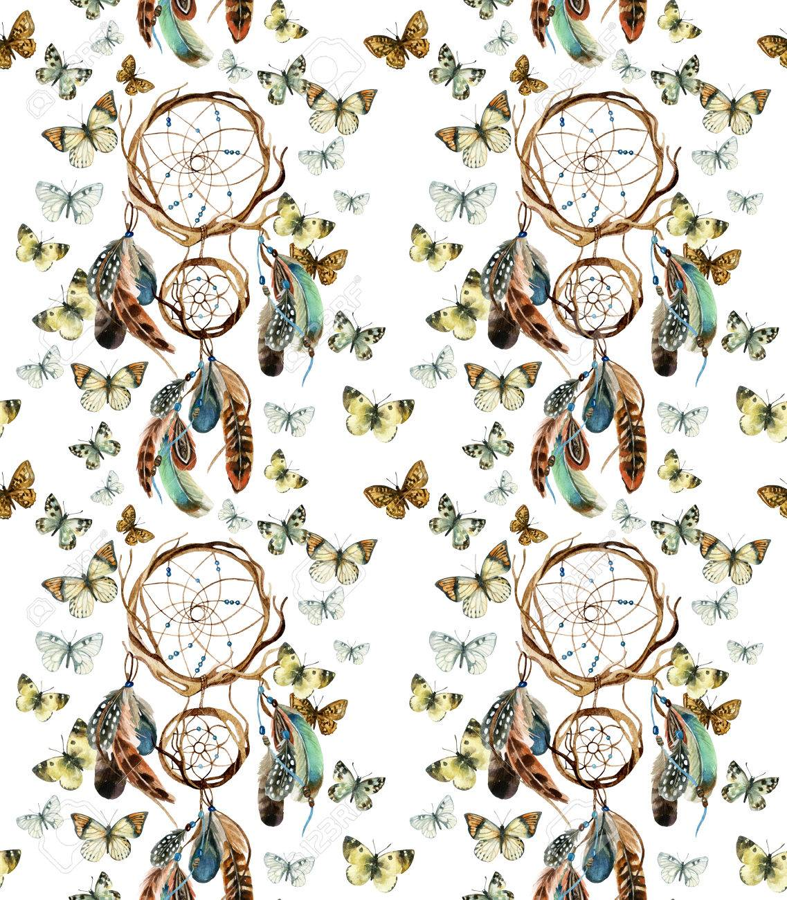 679167805bebe Atrapasueños con plumas. Acuarela dreamcatcher étnico y mariposas de  patrones sin fisuras. Ilustración pintada