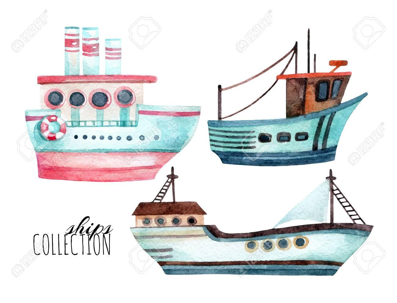 Barcos Modernos De Acuarela Conjunto Aislado Sobre Fondo Blanco