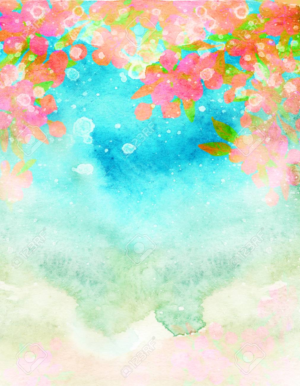 Watercolor Abstract Spring Blossoms Against The Sky Hand Painted