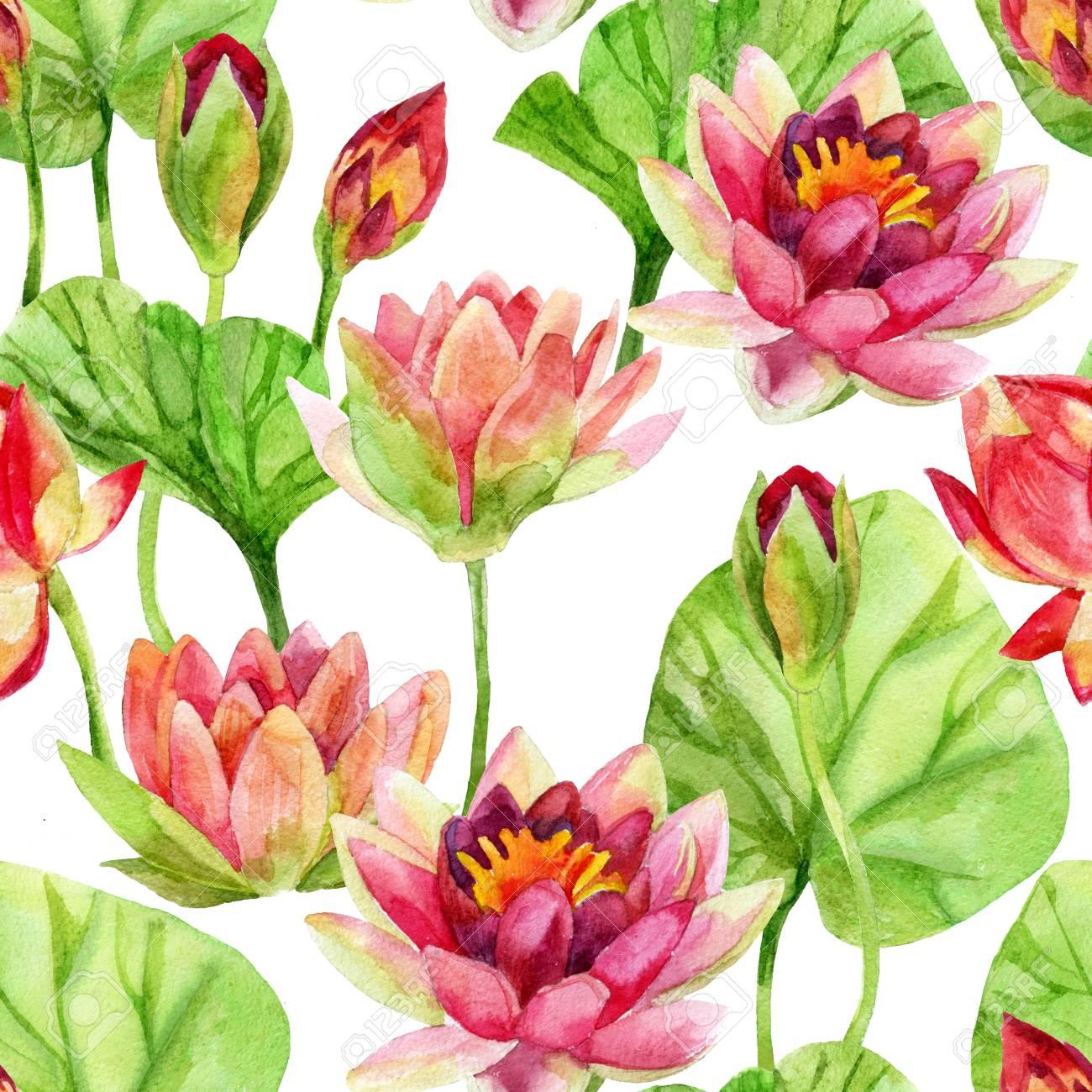 Hand painted lotus flower pattern watercolor illustration stock hand painted lotus flower pattern watercolor illustration stock illustration 76836374 mightylinksfo