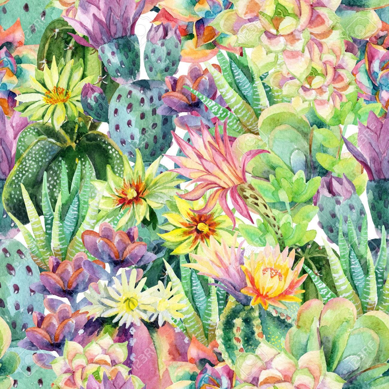 Aquarelle Floraison Fond De Cactus Cactus Exotiques Avec Des Fleurs