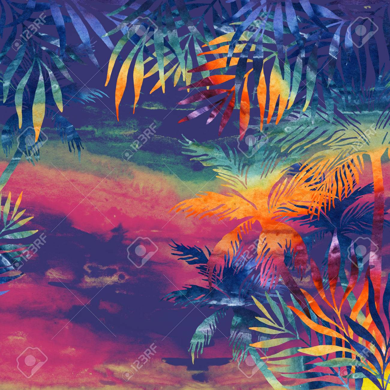 Watercolor Palm Trees At Sunset Tropical Background In Rainbow