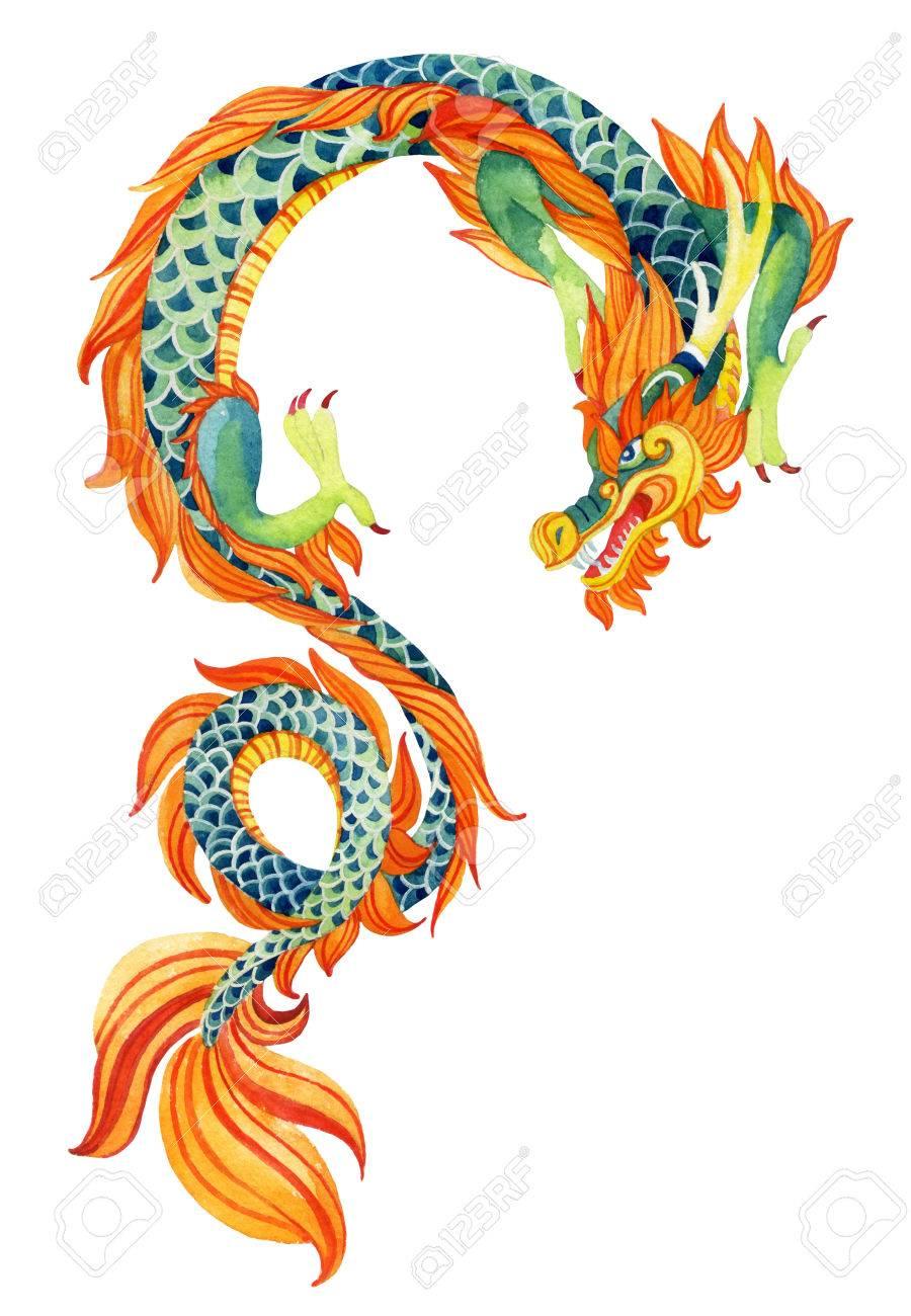 Chinese dragon traditional symbol of dragon watercolor hand chinese dragon traditional symbol of dragon watercolor hand painted illustration stock illustration biocorpaavc Images