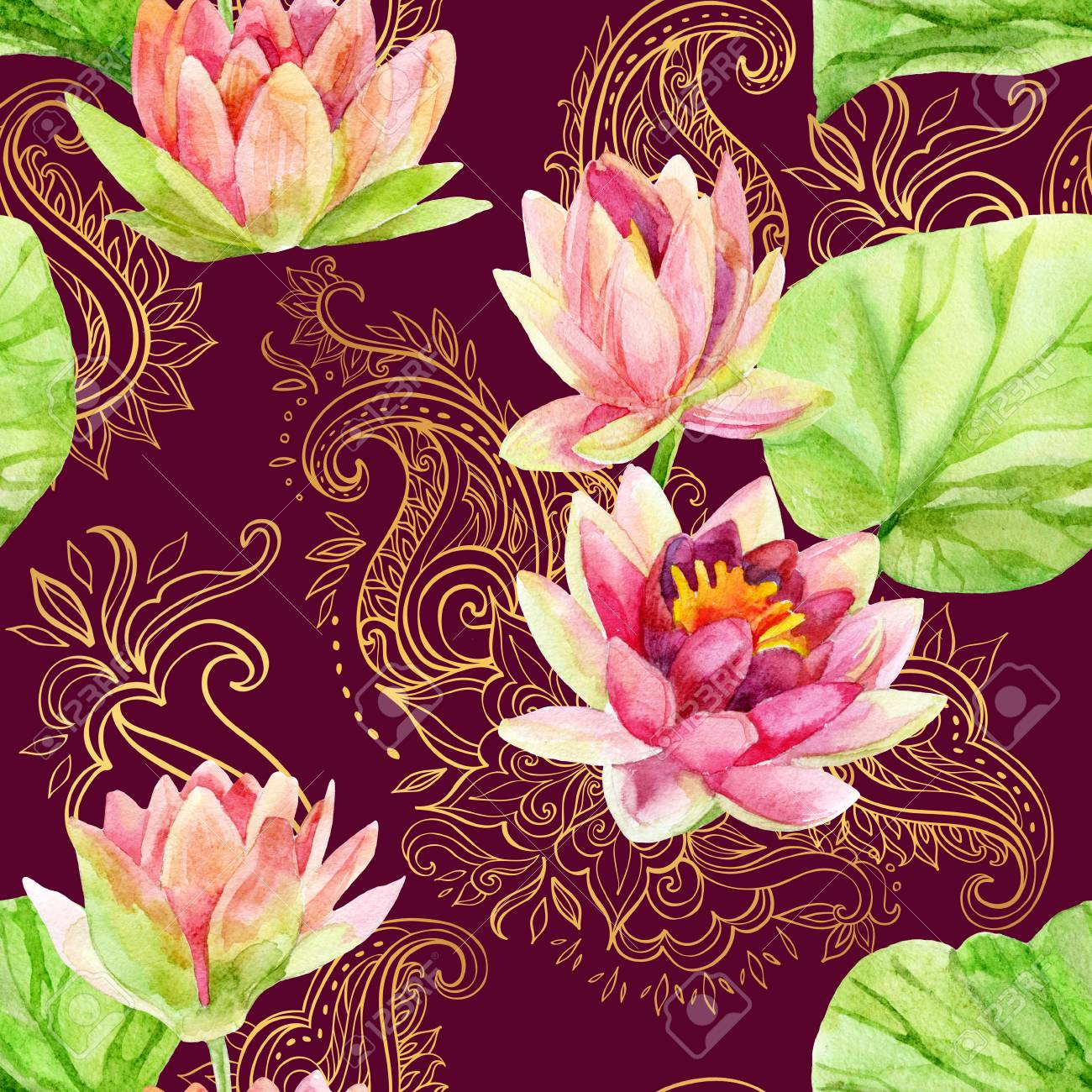 Watercolor Lotus Flower On Golden Ornament Watercolor Flowers