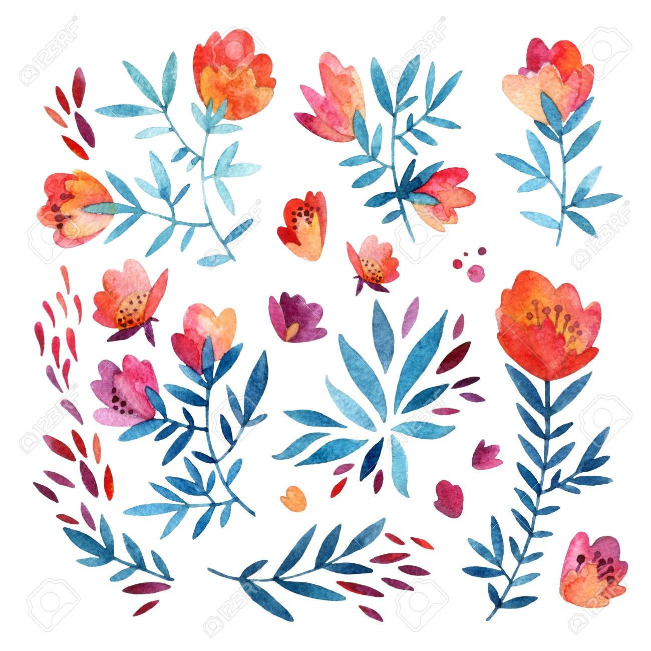 Abstract Watercolor Flowers And Leaves Isolated On White Background Detailed Foliage Elements Including Decorated