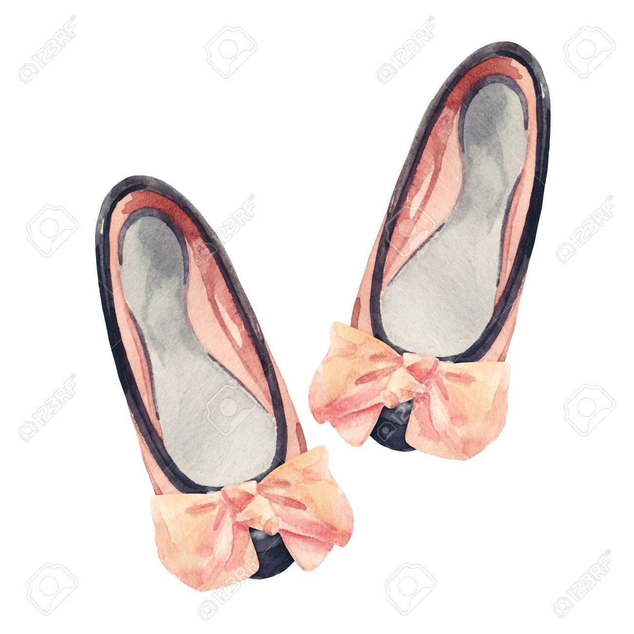 Watercolor Bow Flat Shoes Isolated On White Background Summer Flatshoes Illustration Pumps Painting Two Toned Leather With