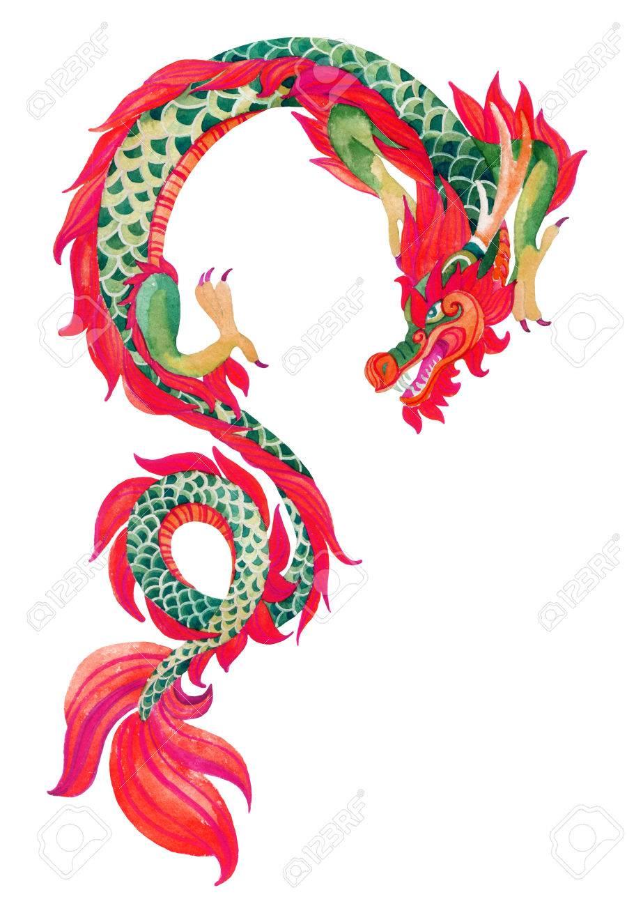 Dragon Chinois dragon chinois. symbole traditionnel du dragon. aquarelle peinte à