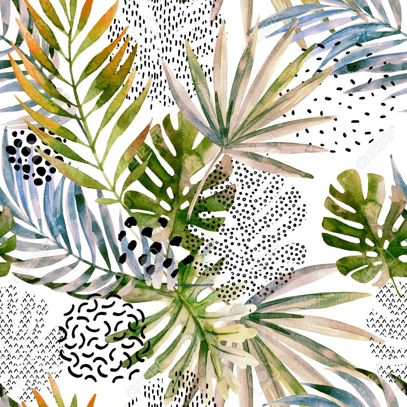 watercolor art illustration tropical leaves filled with marble