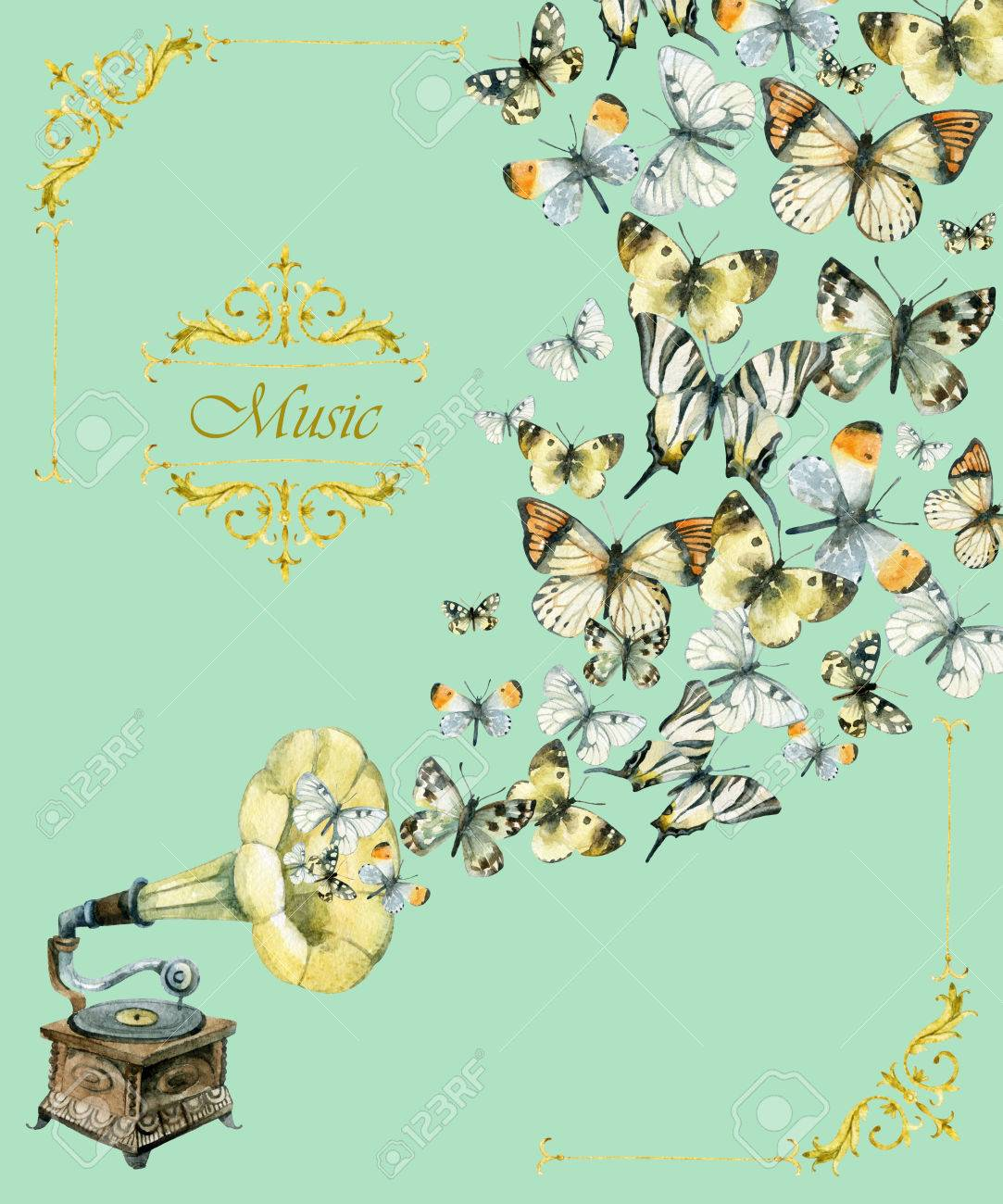 Most Inspiring Wallpaper Music Watercolor - 85361347-vinyl-gramophone-and-butterflies-retro-gramophone-watercolor-phonograph-retro-music-poster-hand-pain  Graphic_40853.jpg