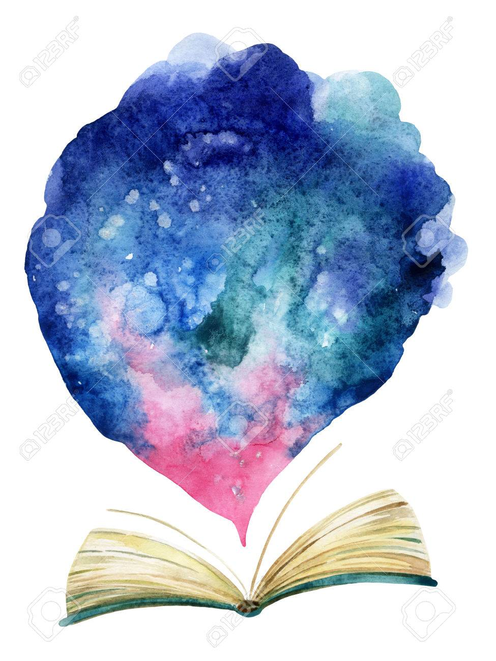 Watercolor Open Book With Magic Cloud. The Whole World In One ...