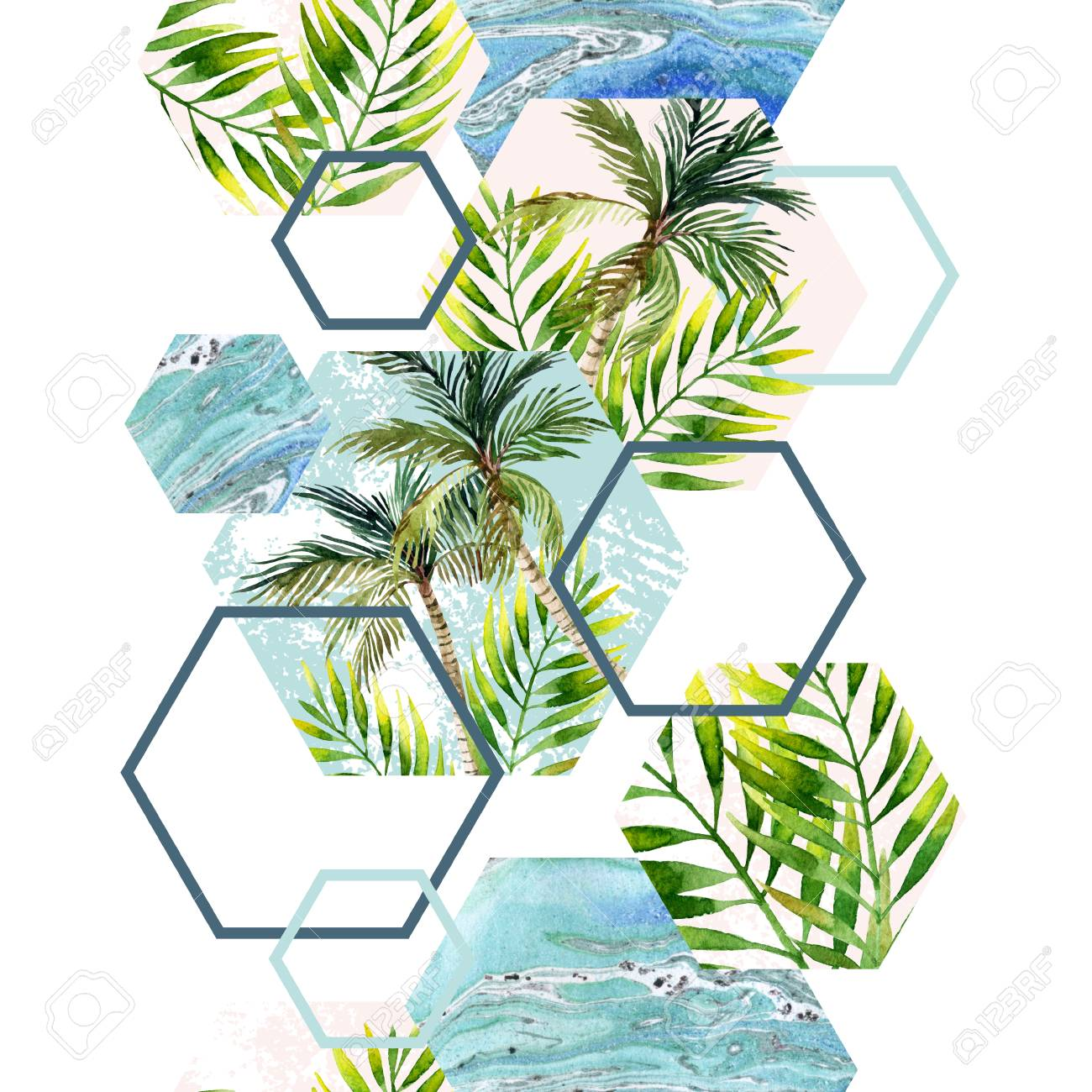Watercolor Tropical Leaves And Palm Trees In Geometric Shapes ...