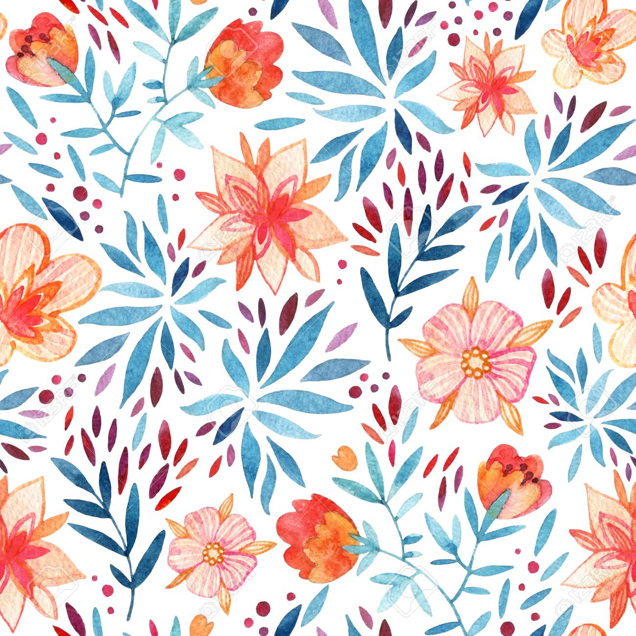 Abstract Cute Watercolor Floral Background Detailed Seamless